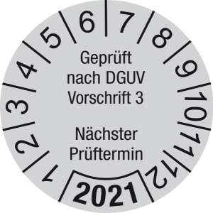 Jahresprüfplakette 2021   Geprüft nach DGUV / Nächster Prüftermin   DP621   Folie selbstklebend   M43   verkehrsgrau & schwarz   40 mm   500 Stück