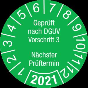 Jahresprüfplakette 2021   Geprüft nach DGUV / Nächster Prüftermin   DP621   Dokumentenfolie   M28   hellgrün & weiß   10 mm   500 Stück