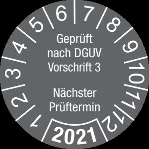 Jahresprüfplakette 2021   Geprüft nach DGUV / Nächster Prüftermin   DP621   Dokumentenfolie   M63   dunkelgrau & weiß   10 mm   500 Stück