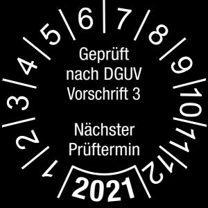 Jahresprüfplakette 2021 | Geprüft nach DGUV / Nächster Prüftermin | DP621 | Dokumentenfolie | M21 | schwarz & weiß | 15 mm | 500 Stück