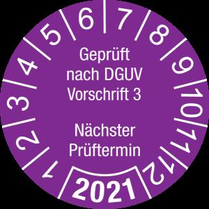 Jahresprüfplakette 2021 | Geprüft nach DGUV / Nächster Prüftermin | DP621 | Dokumentenfolie | M38 | violett & weiß | 15 mm | 500 Stück