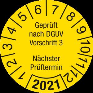 Jahresprüfplakette 2021 | Geprüft nach DGUV / Nächster Prüftermin | DP621 | Dokumentenfolie | M13 | gelb & schwarz | 20 mm | 500 Stück