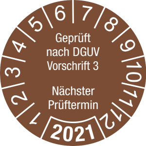 Jahresprüfplakette 2021   Geprüft nach DGUV / Nächster Prüftermin   DP621   Dokumentenfolie   M78   signalbraun & weiß   25 mm   500 Stück