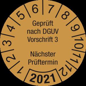 Jahresprüfplakette 2021 | Geprüft nach DGUV / Nächster Prüftermin | DP621 | Dokumentenfolie | M35 | gold & schwarz | 25 mm | 500 Stück