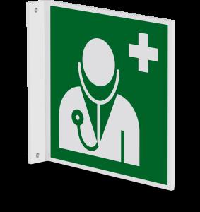 Rettungszeichen - Arzt (E009) - Fahnenschild Wandmontage - 20 cm - langnachleuchtend