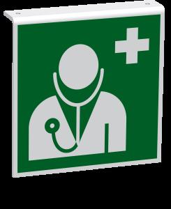 Rettungszeichen - Arzt (E009) - Fahnenschild Deckenmontage - 20 cm - langnachleuchtend