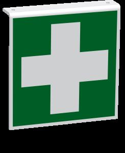 Rettungszeichen - Erste Hilfe (E003) - Fahnenschild Deckenmontage - 10 cm