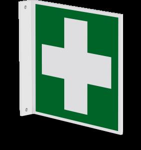 Rettungszeichen - Erste Hilfe (E003) - Fahnenschild Wandmontage - 10 cm - langnachleuchtend