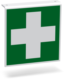 Rettungszeichen - Erste Hilfe (E003) - Fahnenschild Deckenmontage - 30 cm - langnachleuchtend