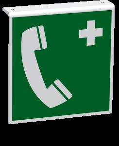 Rettungszeichen - Notruftelefon (E004) - Fahnenschild Deckenmontage - 30 cm - langnachleuchtend