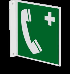 Rettungszeichen - Notruftelefon (E004) - Fahnenschild Wandmontage - 40 cm - langnachleuchtend