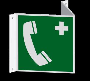 Rettungszeichen - Notruftelefon (E004) - Nasenschild - 40 cm - langnachleuchtend