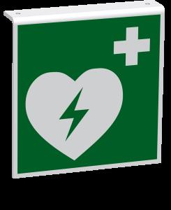 Rettungszeichen - Automatisierter externer Defibrillator (E010) - Fahnenschild Deckenmontage - 30 cm