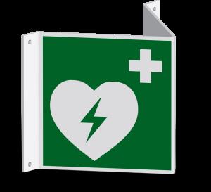 Rettungszeichen - Automatisierter externer Defibrillator (E010) - Nasenschild - 10 cm - langnachleuchtend