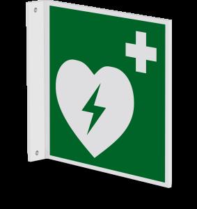 Rettungszeichen - Automatisierter externer Defibrillator (E010) - Fahnenschild Wandmontage - 40 cm - langnachleuchtend