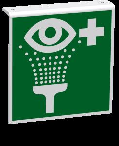 Rettungszeichen - Augenspüleinrichtung (E011) - Fahnenschild Deckenmontage - 40 cm