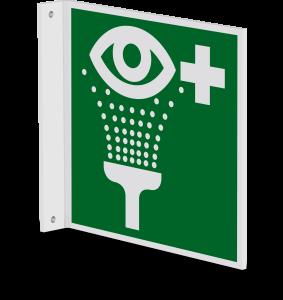 Rettungszeichen - Augenspüleinrichtung (E011) - Fahnenschild Wandmontage - 20 cm - langnachleuchtend