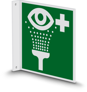 Rettungszeichen - Notdusche (E012) - Fahnenschild Wandmontage - 30 cm - langnachleuchtend