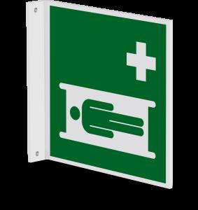 Rettungszeichen - Krankentrage (E013) - Fahnenschild Wandmontage - 20 cm - langnachleuchtend