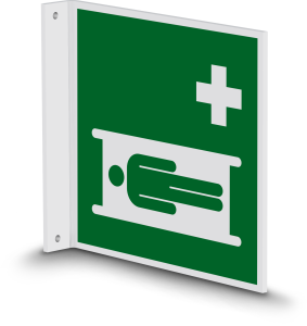Rettungszeichen - Krankentrage (E013) - Fahnenschild Wandmontage - 40 cm - langnachleuchtend