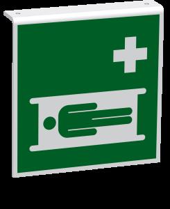 Rettungszeichen - Krankentrage (E013) - Fahnenschild Deckenmontage - 20 cm