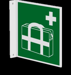Rettungszeichen - Medizinischer Notfallkoffer (E027) - Fahnenschild Wandmontage - 20 cm - langnachleuchtend