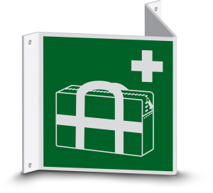 Rettungszeichen - Medizinischer Notfallkoffer (E027) - Nasenschild - 20 cm - langnachleuchtend