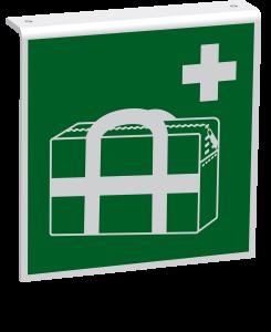Rettungszeichen - Medizinischer Notfallkoffer (E027) - Fahnenschild Deckenmontage - 30 cm - langnachleuchtend