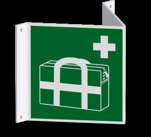 Rettungszeichen - Medizinischer Notfallkoffer (E027) - Nasenschild - 40 cm - langnachleuchtend