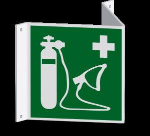 Rettungszeichen - Wiederbelebungsgerät (E028) - Nasenschild - 10 cm - langnachleuchtend