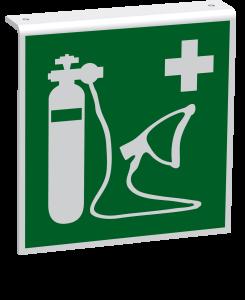 Rettungszeichen - Wiederbelebungsgerät (E028) - Fahnenschild Deckenmontage - 40 cm - langnachleuchtend