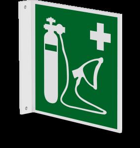Rettungszeichen - Wiederbelebungsgerät (E028) - Fahnenschild Wandmontage - 30 cm