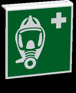 Rettungszeichen - Fluchtretter (E029) - Fahnenschild Deckenmontage - 10 cm - langnachleuchtend