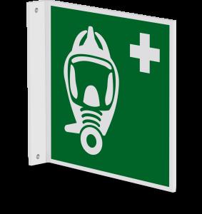 Rettungszeichen - Fluchtretter (E029) - Fahnenschild Wandmontage - 20 cm - langnachleuchtend