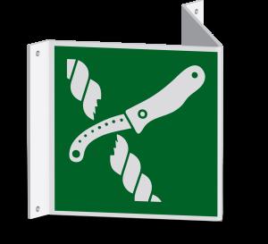 Rettungszeichen - Messer für Rettungsfloßausrüstung (E035) - Nasenschild - 40 cm - langnachleuchtend