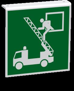 Rettungszeichen - Rettungsausstieg (E017) - Fahnenschild Deckenmontage - 10 cm - langnachleuchtend