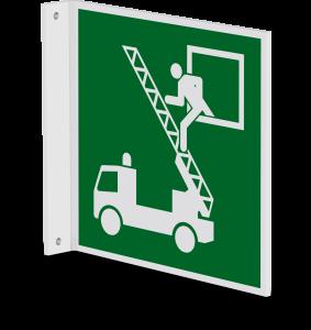 Rettungszeichen - Rettungsausstieg (E017) - Fahnenschild Wandmontage - 30 cm - langnachleuchtend