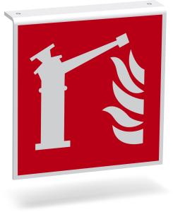 Fire Safety Sign - Fire Suppression Monitor (F015) - Flag Shield Ceiling Mount - 20 cm