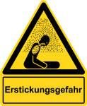 Warning sign with text field - danger of suffocation