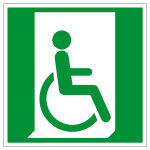 Rettungszeichen - Rettungsweg für Rollstuhlfahrer rechts - E030