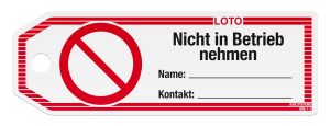 LOTO hang tags '' Do not operate ''
