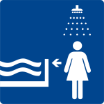 Swimming pool sign - shower first