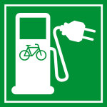 Sign for renewable energies - electric station for bicycles