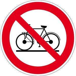 Prohibition sign - bicycles prohibited - aluminum - Ø 5 cm