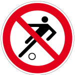Prohibition sign - playing football prohibited