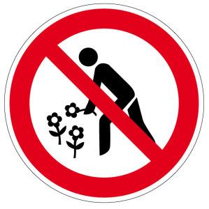 Prohibition sign - No flowers to pick - Aluminum - Ø 5 cm