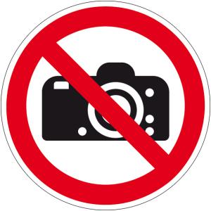 Prohibition sign - photography prohibited - aluminum - Ø 5 cm
