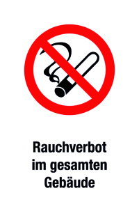 Prohibition sign - No smoking throughout the building - Foil self-adhesive - 20 x 30 cm