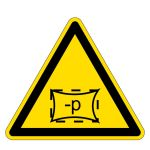 Warning sign - space is under vacuum