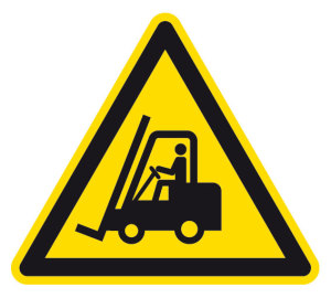 Warning sign - Warning about industrial trucks - Foil self-adhesive - Thigh length 5 cm